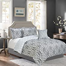 Sweet Home Collection 5 Piece Down Alternative Decorative Fashion Bedding Set w/Comforter, Pillows. & Shams, King, Gray/White