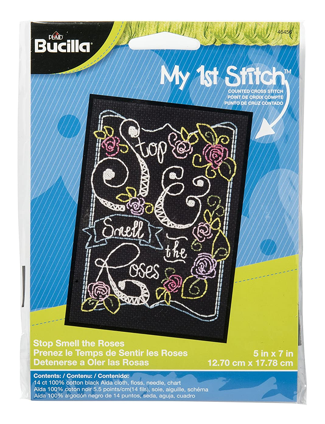 Bucilla My 1st Stitch Counted Cross Stitch Kit, 5 by 7-Inch, 46456 Stop Smell The Roses