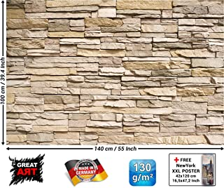 Poster – Noble Stone – Wall Mural Decoration Modern Panelling Stone Look Slate Brick Wall Sandstone Natural Stone Wallposter Photoposter Decor (55 x 39.4 Inch / 140 x 100 cm)