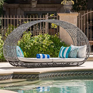 GDF Studio Bedford Outdoor Wicker Overhead Canopy Daybed w/Water Resistant Cushion (Grey/White)