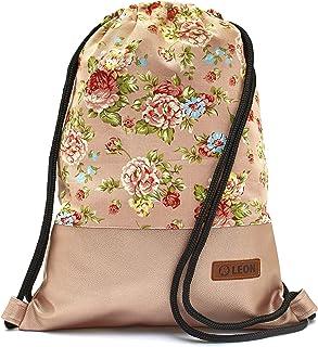 Leon By Bers Turnbeutel mit Innentaschen Rucksack Tasche Damen Herren Teenager Gym Bag Gym Sack rosarose_RosaPu