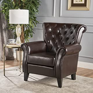 Christopher Knight Home Greggory Oversized Tufted Brown Leather Club Chair, Hazelnut