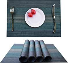 KOKAKO Placemats Washable Dining Table Place Mats PVC Kitchen Table Mats,Set of 4(Blue-Green)