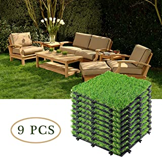 Interlocking Artificial Grass Turf, Indoor Outdoor Flooring Decor, Synthetic Grass Deck Tiles, Pet Grass for Dogs Potty Play Area, Fake Grass Rug for Patio House Decoration Balcony -1'x1' (9 Pack)