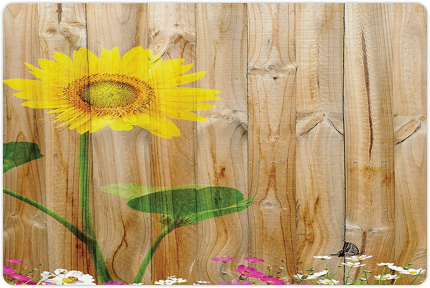 Lunarable Sunflower Pet Mat Super sale for and Food Water Painti Easy-to-use
