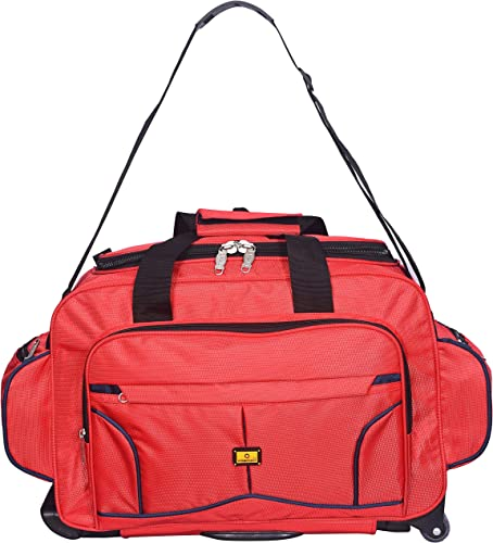 57 Litres 57 Cms Luggage Collection Trolley Wheel Bag Soft Sided Nylon Trolley Duffle Wheel Bag Luggage For Travelling Pure Red 57 Cm Set 0F 1 Pcs