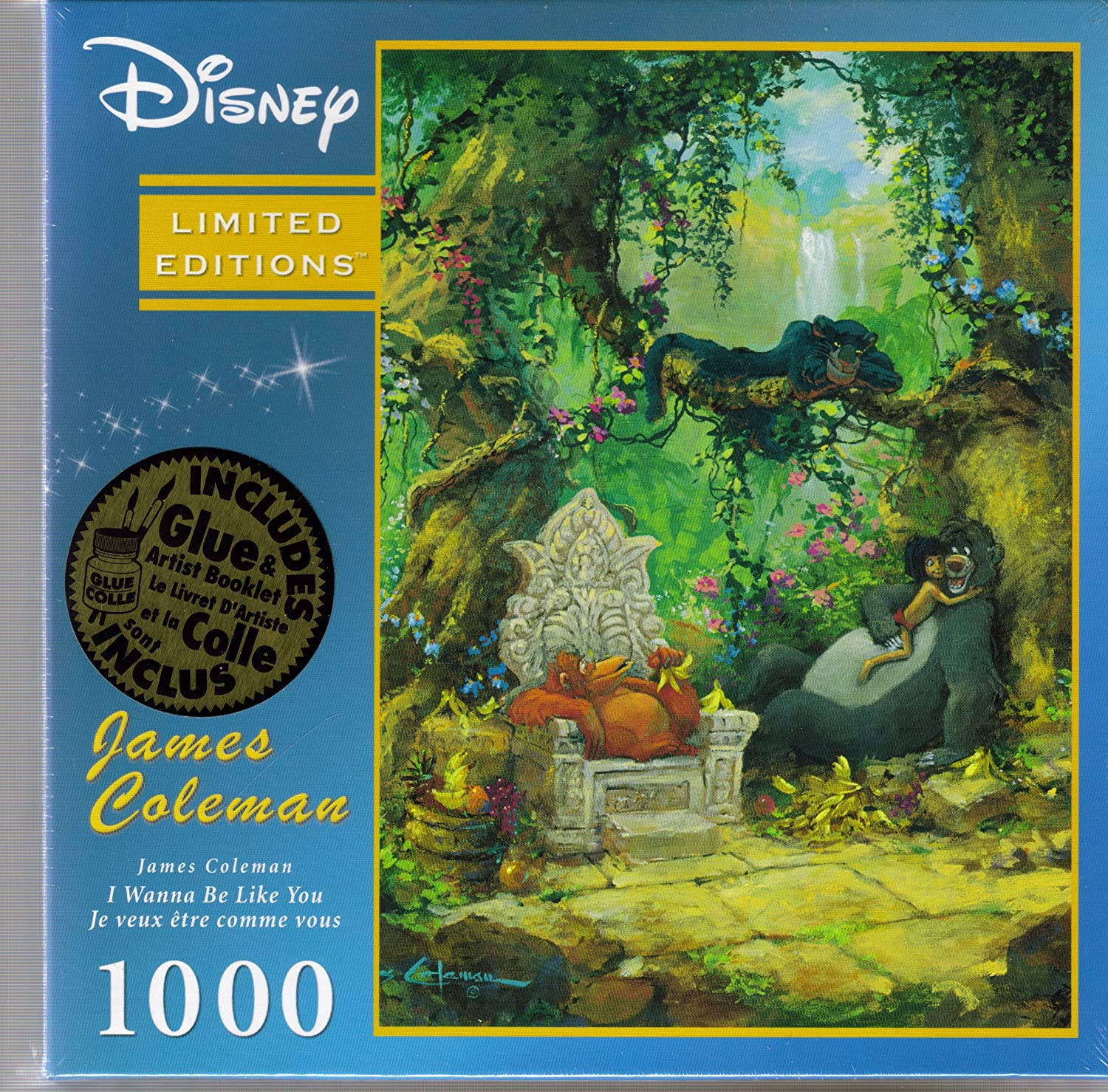 Disneys Limited Editions I Wannna Be Like You 1000 Piece Jigsaw Puzzle w  Artist Booklet & Glue