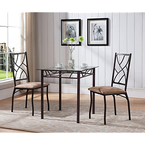 Kings Brand Furniture 3 Piece Bronze Metal Square Dining Kitchen Dinette Set Table 2
