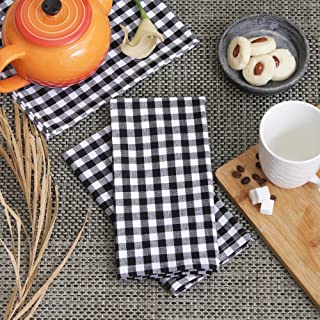 Cotton Dinner Napkins Black & White Check, Set of 12 (20 x 20 Inches), Over Sized, Embroidery And Print, Lint Free, Quick Dry, Hemmed With Mitered Corners