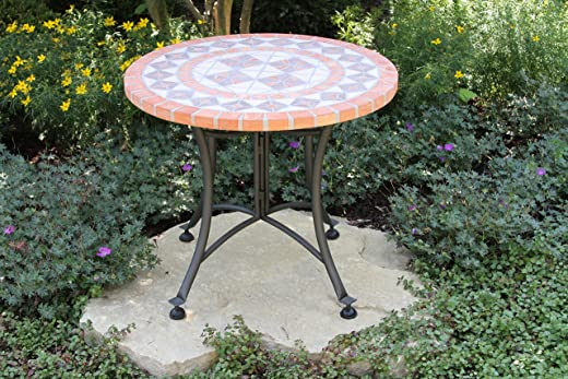 B00QV9V300✅Outdoor Interiors Terra Cotta Mosaic Accent Table with Metal Base, 24-Inch, Charcoal