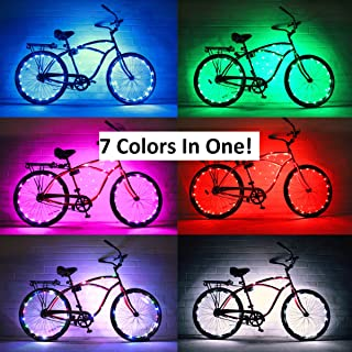 GlowRiders - Ultra Bright LED - Bike Wheel Light String (1 Pack) - Assorted Colors Bicycle Tire Accessories- Burning Man Accessory (7 Colors in One)