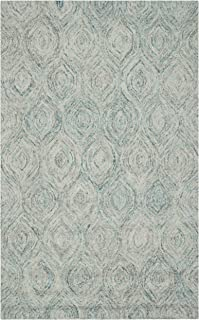Safavieh Ikat Collection IKT631A Handmade Ivory and Sea Blue Premium Wool Area Rug (4' x 6')