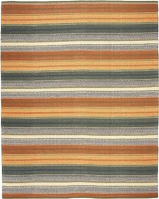 Amazon Com Safavieh Striped Kilim Collection Stk412a Handmade Flatweave Cotton Area Rug 8 X 10 Gold Grey Furniture Decor