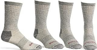 Ballston 81% Merino Wool All Season Crew Hiking Socks - 4 Pairs for Men and Women
