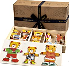 Jaques of London Family of Bears Jigsaw puzzle for kids Wooden Toys Dress up Game – Perfect toddler toys recommended Wooden Puzzle toys for 2 3 4 year olds