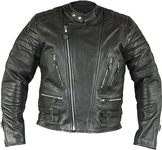 FNF Retro Oldschool Lederjacke, 80´s Lederjacke, Herren Motorrad Lederjacke Biker Jacke Motorradjacke mit Protektoren gesteppt