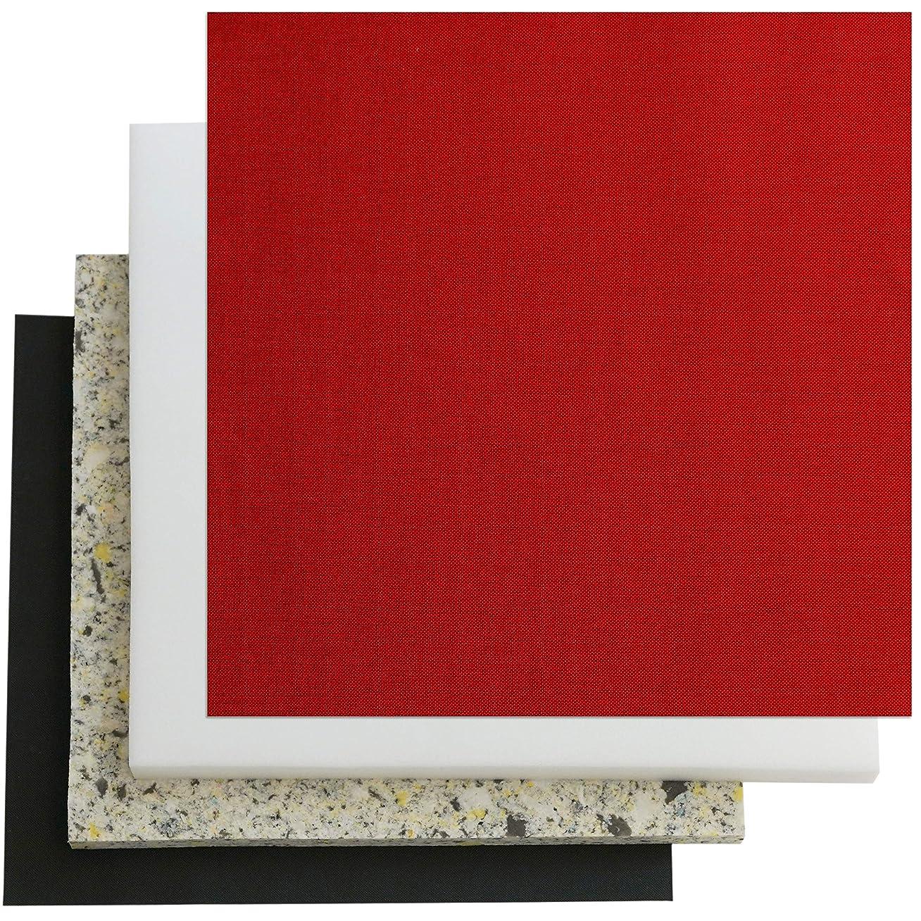 椅子の張替えセット 1脚分 国産平織布【通常サイズ】 (8445レッド, 3cm厚)
