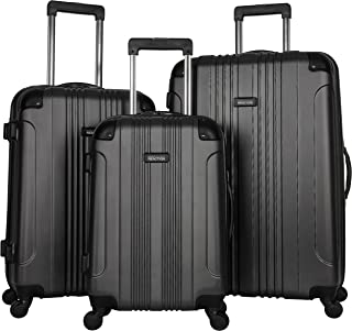 """KENNETH COLE REACTION Out of Bounds Luggage 4-Wheel ABS 3-Piece Nested Set: 20"""" Carry-on, 24"""", 28"""" Upright, Charcoal"""
