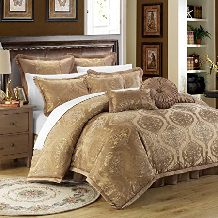 Chic Home 9 Piece Como Decorator Upholstery Quality Jacquard Motif Fabric Bedroom Comforter Set & Pillows Ensemble, Queen, Gold