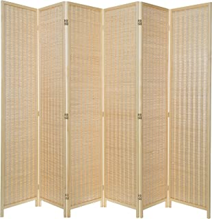 MyGift Decorative Woven Bamboo 6-Panel Room Divider Screen, Beige