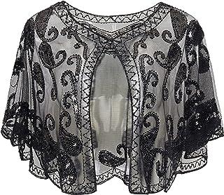 BABEYOND 1920s Shawl بسته بندی Sequin Beaded Night Cape Bridal Shape Sholl Bolero Flapper Cover Up