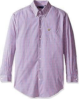 Men's Long Sleeve Windowpane Print Button Down Shirt