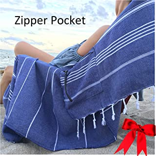 Lux Oversized 40x75 Absorbent Cotton Beach Towel W/Hidden Zipper Pocket 100% Natural Turkish Cotton XL - Sand Free Lightwe...