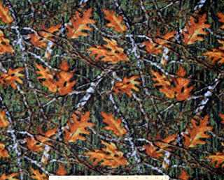 Fleece Oak Leaves & Branches Fabric by The Yard
