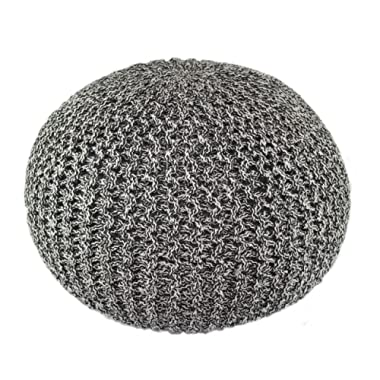 COTTON CRAFT - Hand Knitted Cable Style Tweed Dori Pouf - Charcoal/Black - Floor Ottoman - 100% Cotton Braid Cord - Handmade & Hand Stitched - Truly one of a Kind Seating - 20 Dia x 14 High