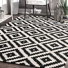 nuLOOM 200MTVS174A-508 Kellee Contemporary Wool Rug, 5' x 8', Black