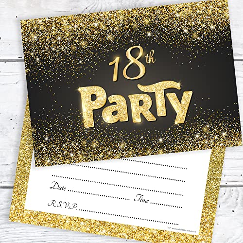 Olivia Samuel Black And Gold Effect 18th Birthday Party Invitations