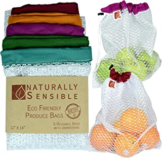 "Reusable Produce Bags The Original Eco - Friendly See Through and Washable Soft Premium Lightweight Nylon Mesh Large 12""X1..."