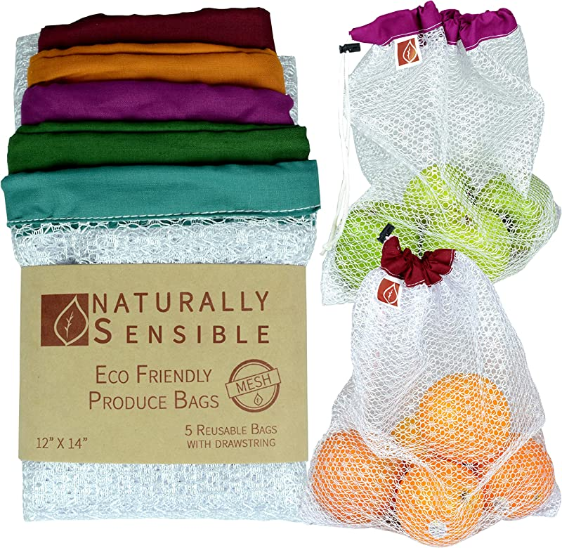 Reusable Produce Bags The Original Eco Friendly See Through And Washable Soft Premium Lightweight Nylon Mesh Large 12 X14 Set Of 5 Red Yellow Green Blue Purple By Naturally Sensible