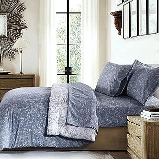 Southshore Fine Linens - Winter Brush Print Reversible 3-Piece Duvet Cover Sets Set, Blue, Full/Queen