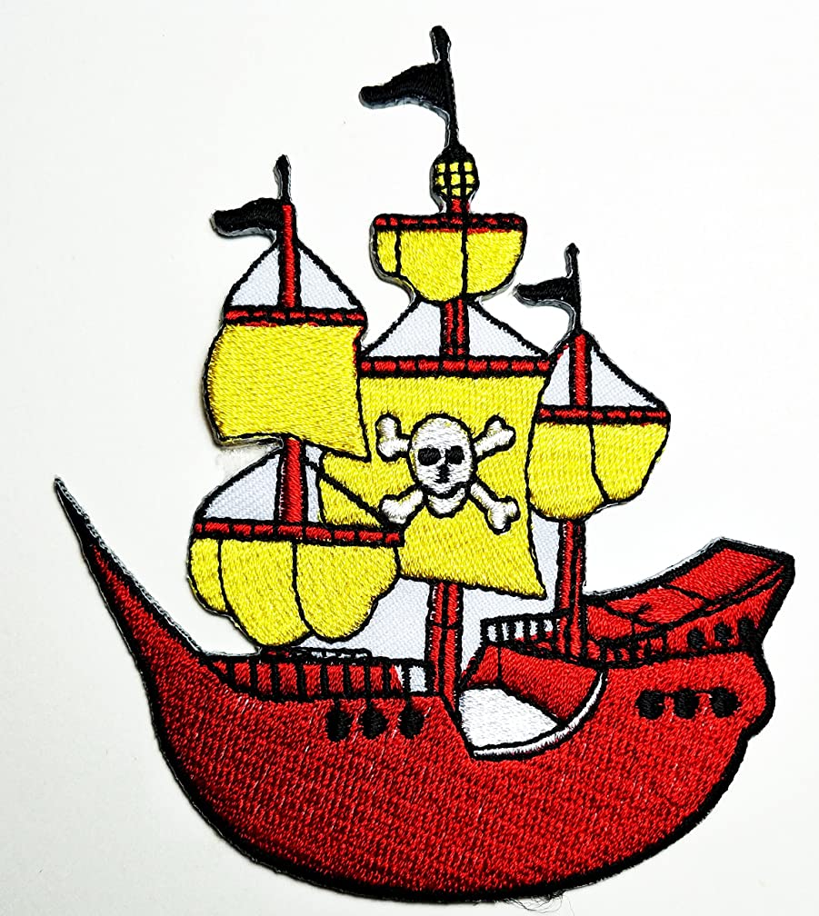 HHO Pirate Ship Skull & Crossbones Jolly Roger Embroidered Patch Embroidered DIY Patches, Cute Applique Sew Iron on Kids Craft Patch for Bags Jackets Jeans Clothes