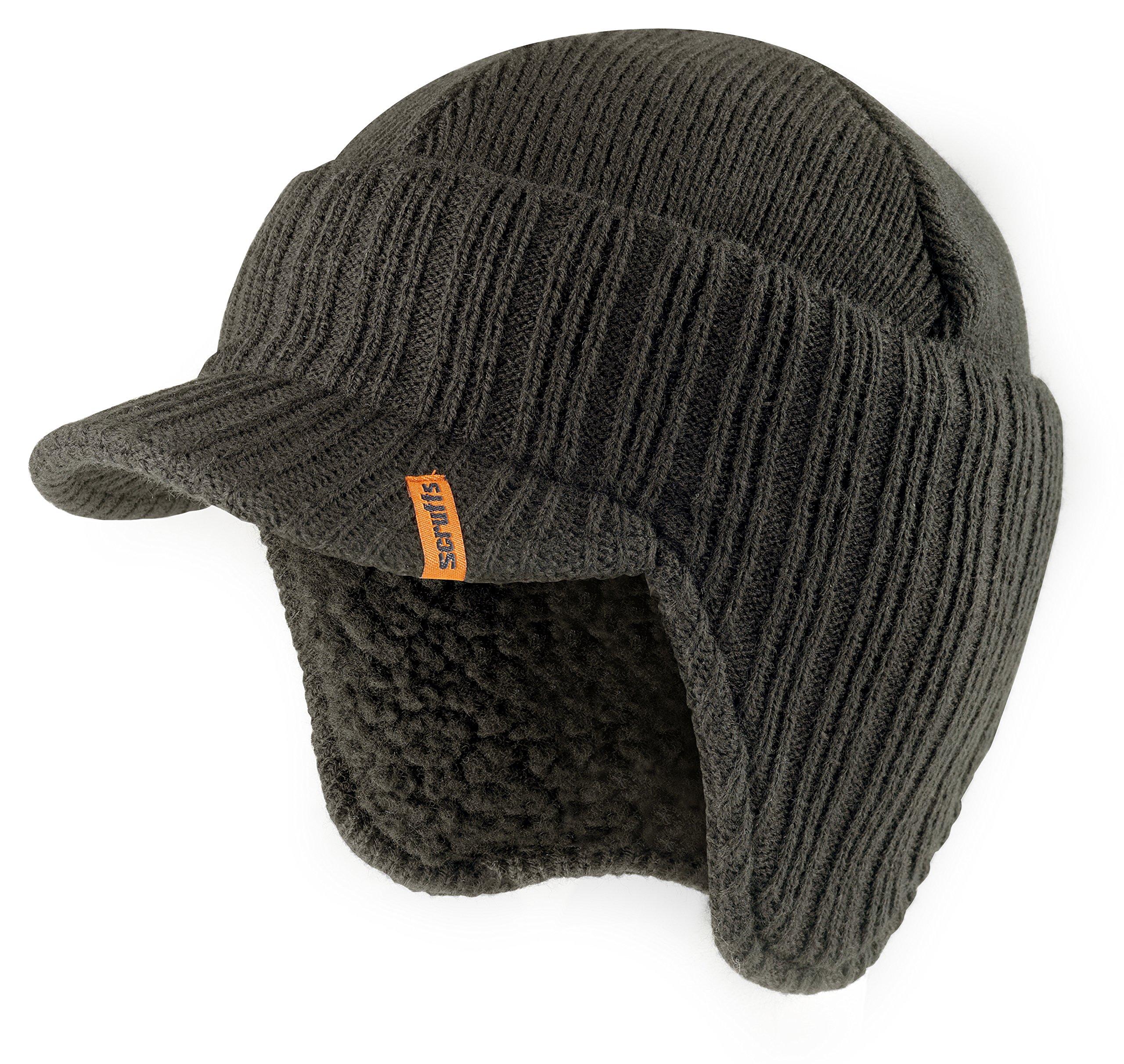 Scruffs Warm Winter Peaked Beanie Hat Black Thermal Insulated Outdoor Workwear