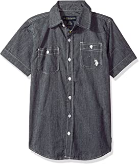 U.S. Polo Assn. Boys' Big Short Sleeve Woven Shirt, Marled Black, 8