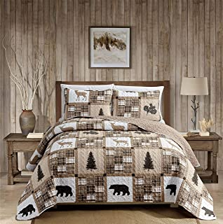 Rustic Modern Farmhouse Cabin Lodge Quilted Bedspread Coverlet Bedding Set with Patchwork of Wildlife Grizzly Bears Deer Buck and Plaid Check Patterns in Taupe Brown - Western-1 (Full/Queen)