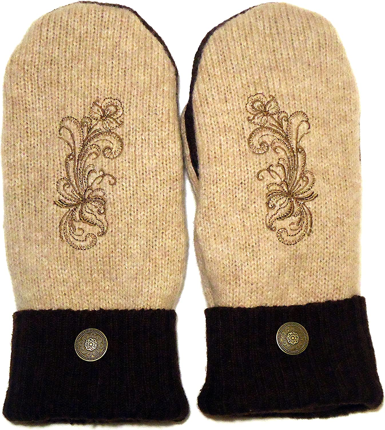 Integrity Designs Sweater Mittens, 100% Wool, Camel and Dark Brown with Polar Fleece Lining, Adult Size Med/Large, Super Thick, Rosemaling Folk Art Motif Embroidery, Contrasting Button