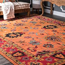nuLOOM Montesque Hand Tufted Wool Rug, 6' x 9', Orange