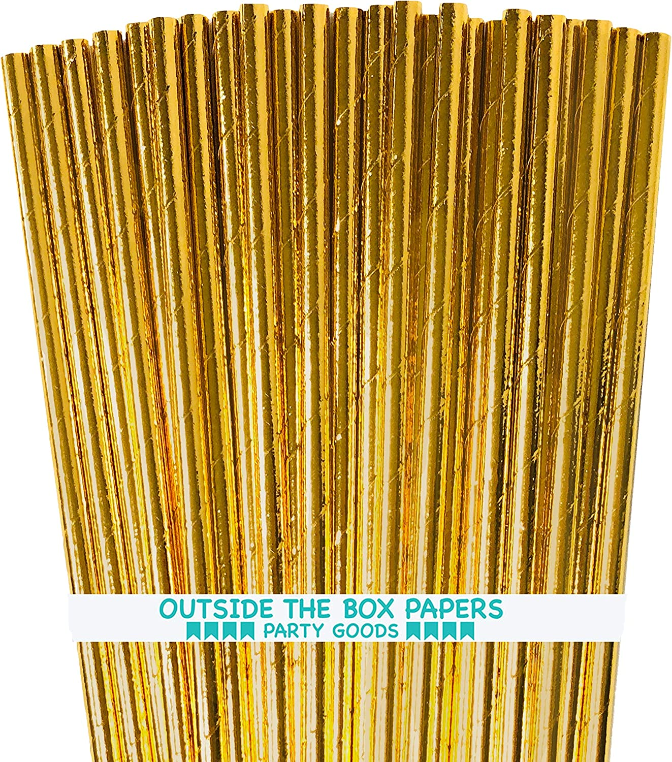 Gold Japan's largest assortment Foil Paper Straws - 7.75 Inches the Award Outside 100 of Pack