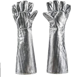 Holulo High Temperature Kevlar Aluminized Glove Heat Resistant Glove Welding Gloves Safety Work Glove (XL-55CM)
