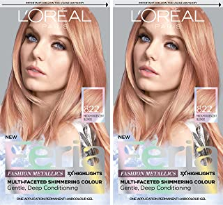 L'OrÃal Paris Feria Multi-Faceted Shimmering Permanent Hair Color, Rose Gold, 2 Count Hair Dye