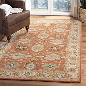 Safavieh Heritage Collection Hg734d Handmade Traditional Oriental Premium Wool Area Rug 7 6 X 9 6 Rust Beige Furniture Decor Amazon Com