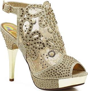 Angie15 Womens Open Toe High Heel Wedding Rhinestone Mesh Sling Back Sandal Wedge Shoes