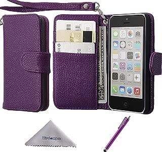 iPhone 5c ケース 手帳型 Wisdompro 合皮レザー ストラップ付き マグネット式 横開き 四つポケット アイフォン5cフリップカバー 財布式 パープル
