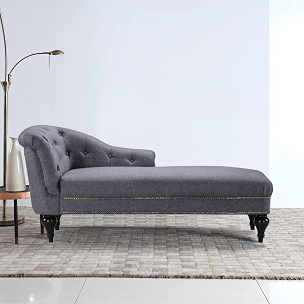 DIVANO ROMA FURNITURE Large Classic Tufted Button Linen Fabric Living Room Chaise Lounge With Nailhead Trim Light Grey