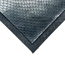 Real Genuine Blue Calf Hide Leather: Thick Leather Cow Hide Dark Blue Snake Leather Sheets for Crafting and Cricut Maker Supplies (Dark Blue Snake, 6x6In/ 15x15cm)