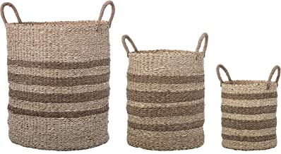 Bloomingville Brown Natural Handles Sizes Striped Seagrass & Palm Baskets (Set of 3)