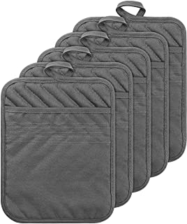 GROBRO7 5Pack Pocket Pot Holders Cotton Heat Resistant Potholder Multipurpose Hot Pads Machine Washable Oven Mitts Terry C...
